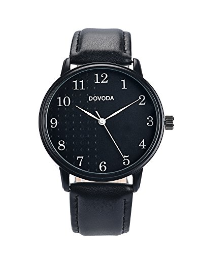 Black Watches for Men Stylish Elegant Quartz Analog Easy Reader Watch with White Number Time Markers and Black Dial Leather Strap for Everyday Wear by DOVODA (Image #1)