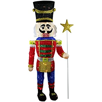 northlight seasonal 65 lighted sparkling tinsel nutcracker christmas yard art decoration - Nutcracker Christmas Decorations