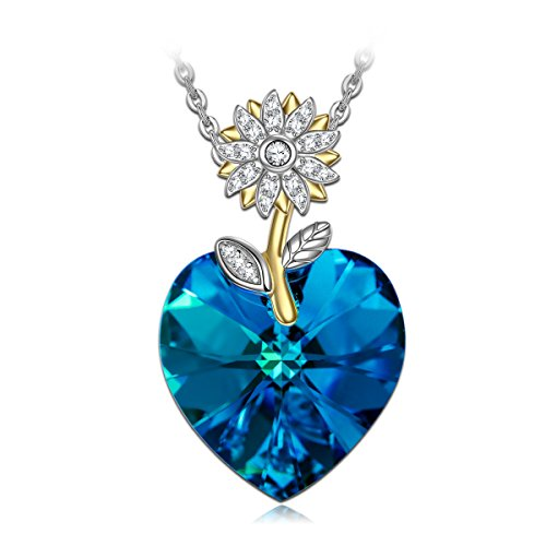 Gifts for Women NINASUN Flourishing Sunflower s925 Sterling Silver Pendant Necklace Gold Plated Swarovski Crystal Heart Jewelry Birthday Christmas Wedding Gifts for from Her Wife Daughter Gilrfriend