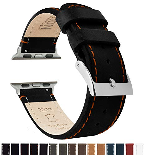 Barton Leather Watch Bands Compatible with All Apple Watch Models - 42mm Black Leather & Orange Stitching