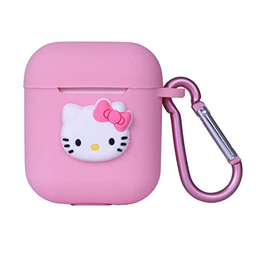 Logee Full Pink Hello Kitty Case for Apple Airpods 1&2-3D Silicone Cartoon Airpod Case Cover Soft Kawaii Protective Accessories Skin Kits with Keychain Cute Character Cover Case for Girls Teens Kids