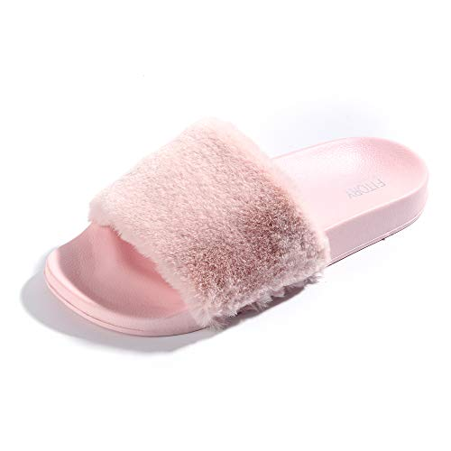 Light Pink Slides - FITORY Women Slippers,Faux Fur Slide Slip On Flats Sandals with Arch Support Open Toe Soft Girls Indoor Outdoor Shoes 7-8 B(M) US, Pink
