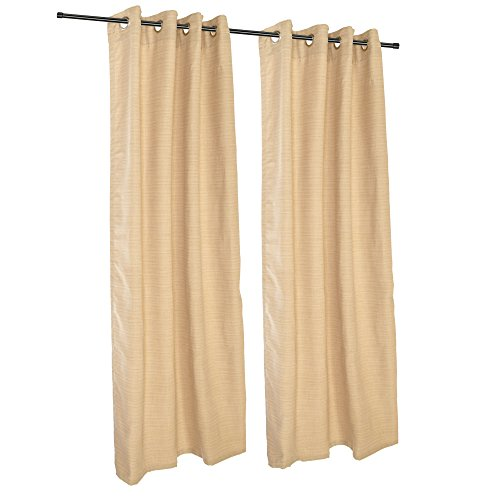 Sunbrella Outdoor Curtain with Grommets-Nickle Grommets-Dupione Bamboo - Dupione Bamboo Fabric