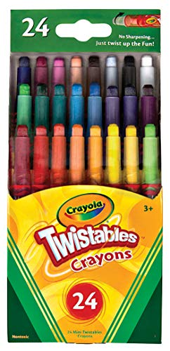 Crayola Mini Twistables Crayons, 24 Classic Crayola Colors Non-Toxic Art Tools for Kids & Toddlers 3 & Up, Great for Kids Classrooms or Preschools, Self-Sharpening No-Mess Twist-Up -