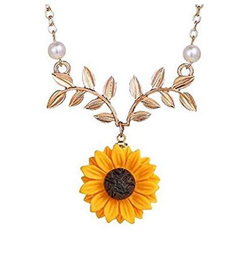 (SwanElegant Sunflower Pearl Leaf Chain Resin Boho Handmade Drop Pendant Choker Daisy Flower Necklace Romantic Gift(Leaf-Rose)