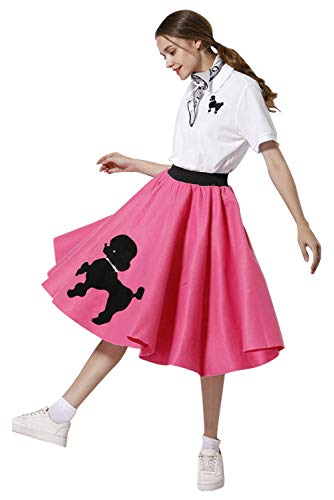 Newcos Adult Poodle Skirt with Musical Note Printed Scarf Women Vintage 1950s Pink Ladies