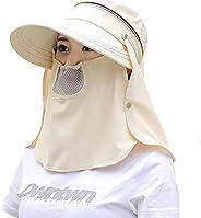 Women Wide Brim UV Protection Fishing Sun Hats Riding Bucket Hat Cap Sun Protection Visor and Neck Flap