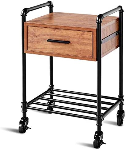 Casart Nightstand Side Table Industrial Style Vintage 2-Tier Side Table Rolling Cart Metal Frame W Storage Shelf Drawer, 4 Rolling Locking Wheels for Living Room End Table 2