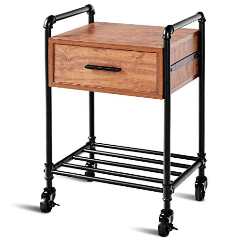(Casart Nightstand Side Table Industrial Style Vintage 2-Tier Side Table Rolling Cart Metal Frame W/Storage Shelf Drawer, 4 Rolling Locking Wheels for Living Room End Table (1))