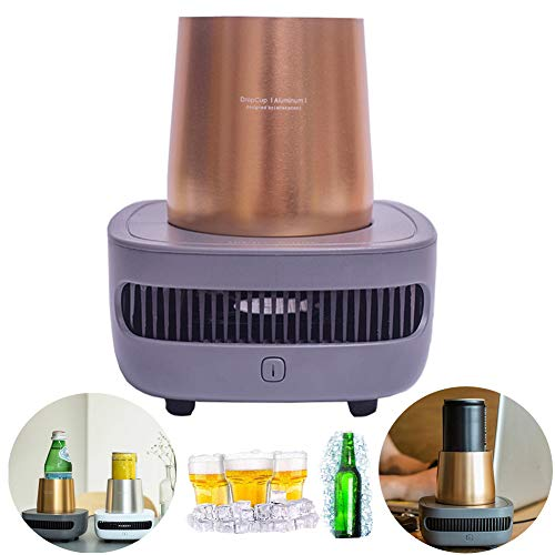 Aquarius CiCi Instant Cooling Cup Cooler Electronic Fast Heating Cooling Cup Holder Portable Cold Drink Machine Desktop Cup Wine Bear Beverage Cooler(Gold)