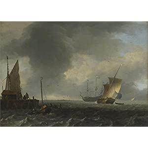 'Ludolf Bakhuizen A View Across A River Near Dordrecht ' Oil Painting, 18 X 25 Inch / 46 X 64 Cm ,printed On High Quality Polyster Canvas ,this Imitations Art DecorativeCanvas Prints Is Perfectly Suitalbe For Dining Room Decor And Home Decor And Gifts