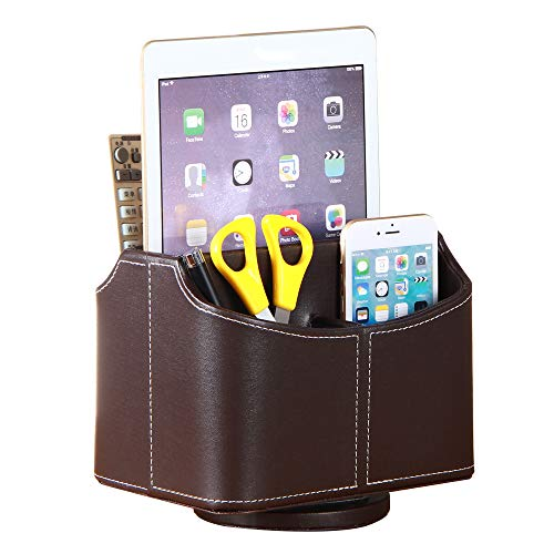 Remote Control Holder PU Leather 360 Degrees Rotatable Desktop Supply Organizer Storage Box for Controllers Media Stationery Nightstand TV Caddy E-reader iPad Phone Pen/Pencil Cosmetic(Brown) 360 Degree Desk Organizer