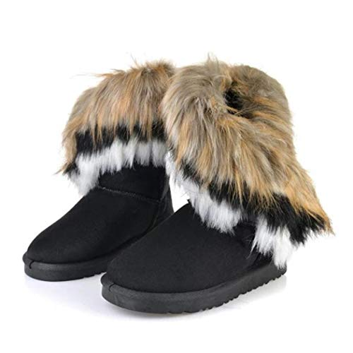 Donna Casual Con Tacco Pelliccia Sintetica Sandali Stivali Invernali Nero In Gfone tHZPZ