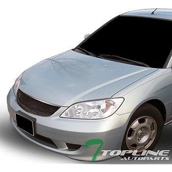 Topline Autopart Matte Black JDM T R Mesh Front Hood Bumper Grill Grille  Cover Conversion 04