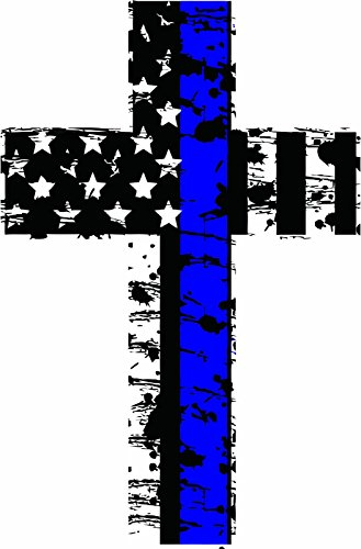(MAGNET Thin blue line Distressed American Flag Police Christian Cross Reflective Decal Vinyl Magnetic Sticker 4