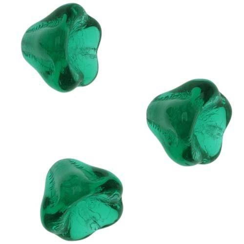 Czech Glass Beads 6mm X 8mm Flower Bell Beadcaps Emerald Green (Czech Flower Beads)