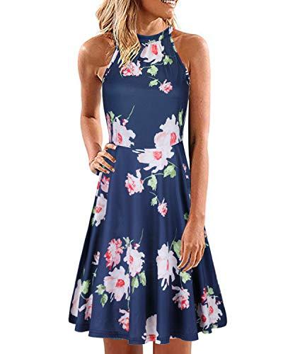 ULTRANICE Women's Halter Neck Floral Summer Casual Sundress(Floral09,L)