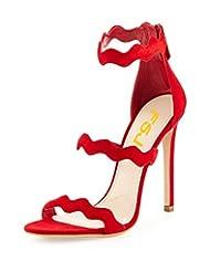 FSJ Women Chic Open Toe Sandals High Heels Stilettos Dress Shoes Pumps with Zipper Size 4-15