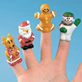 Holiday Christmas Character Finger Puppets - 24 Piece Set