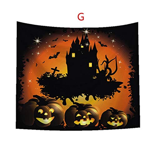 Feccile Happy Halloween Party Decorations Tapestry Wall Hanging,Pumpkin Bat Ghost Polyester Printing Wall Background Blanket 1PC for Bedroom Living Room Dorm Decor,93x75cm/36.6x29.5 (G)