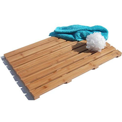 - ADD A TOUCH OF STYLE TO YOUR BATHROOM - Our Luxury 100% Natural Bamboo Bath Mat / Shower Mat / Floor Mat is and a LARGE 25 x 16 -
