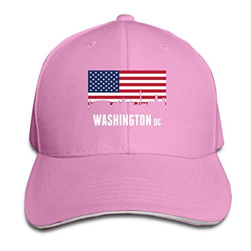 American Flag Washington DC Sunscreen Adjustable Baseball Caps Sandwich Caps Pink