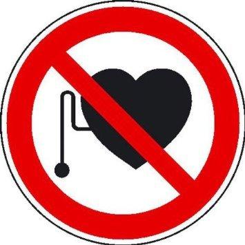 INDIGOS UG - Verbot für Personen mit Herzschrittmacher Verbotsschild, selbstklebende Folie, 20 cm