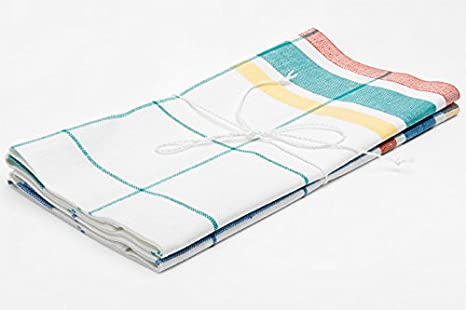 Lino fashion: Set de dos color blanco cuadros lino/algodón Toallas de cocina de