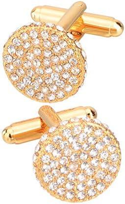 カフリンクス ギフトボックスクリスタルラウンドカフリンクスメンズゴールドカフリンクス ファッション アクセサリー (Color : Gold, Size : 17×17cm)
