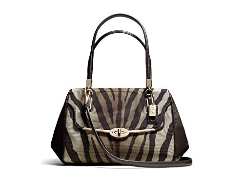 - Coach Madison Zebra Madeline E/W Satchel - Brown Multi