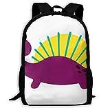 "OWZI Cartoon Purple Massospondylus Customized Adult Full-Length Printed Backpack 6.3""× 11.0""× 16.9"" for Travel School Outdoor"