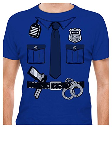 TeeStars - Police Cop Uniform Halloween Costume Policeman Outfit Suit T-Shirt Large Blue (Mens Dress Up Outfits)