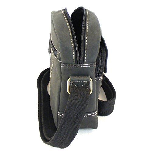 HGL Damen Tasche Crossovertasche Echt-Leder schwarz 9356 Reißverschluss RV-Fach