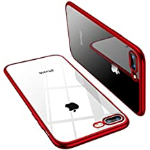 TORRAS Crystal Clear iPhone 8 Plus Case/iPhone 7 Plus Case, [Upgraded] Soft Cover with Electroplated Frame Ultra Slim TPU Gel Case for iPhone 7 Plus/8 Plus, Red