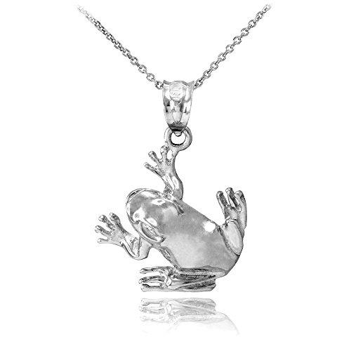 Animal Kingdom 925 Sterling Silver Frog Pendant Necklace, 16