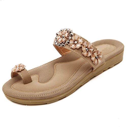 De las mujeres chancletas Zapatos de sandalia De Flores Rhinestones Bohemia estilos albaricoque