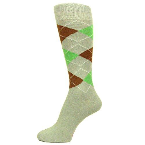 Spotlight Hosiery Men's Groomsmen Wedding Argyle Dress Socks-Light Gray / Light Spring Green / Brown - Brown Knickers