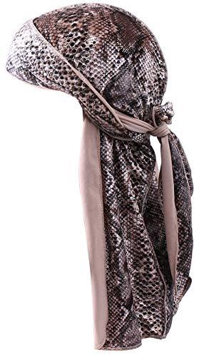 Ababalaya Men 2PCS/3PCS Stretchable Luxury Velvet Long Tail Wide Straps Durag Du-RAG (Snakeskin Velvet(1PC))