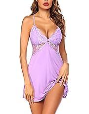 Avidlove Women Nightgown Modal Sleepwear Sexy Lingerie Full Slips Lace Babydoll