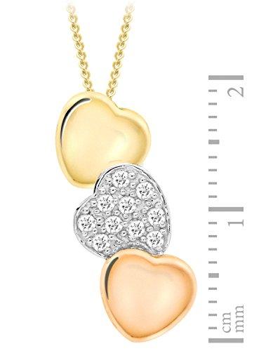Carissima Gold - Collier Femme avec pendentif - Coeur - Or (9 Cts) Tricolore 2.1 Gr - Diamant