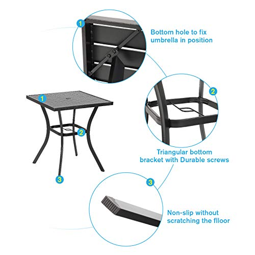 """with Umbrella Hole for Outdoor Garden 36 Height PHI VILLA 31/"""" Metal Patio Height Bar Table Bistro Square Dining Table Outdoor Furniture Steel Frame All Weather for Outdoor"""