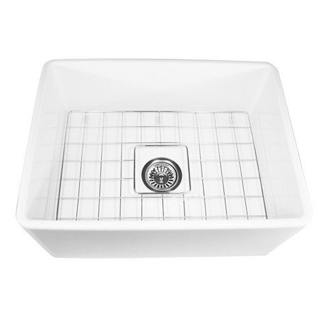 Nantucket Sinks T-FCFS-24 24-Inch Single Bowl Fireclay Farmhouse Kitchen Sink, White