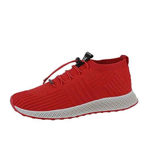 UOMOGO? Uomo Scarpe da Sportive Corsa Running Sport Sneaker Casual Outdoor Tennis Scarpe da Ginnastica Fitness Interior Casual all'Aperto (Asia 40, Rosso)
