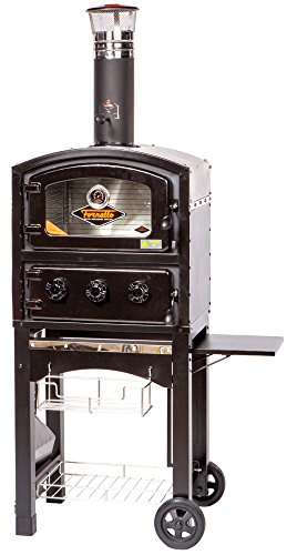 Alfresco Home 82-PZ-5WT-SBSS Fornetto Wood Fired Oven & Smoker, Black/Red by Alfresco Home