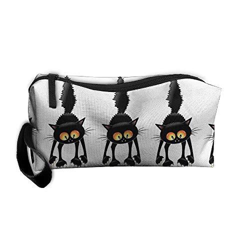 Jessent Coin Pouch Halloween Black Cat Pen Holder Clutch Wristlet Wallets Purse Portable Storage Case Cosmetic Bags Zipper