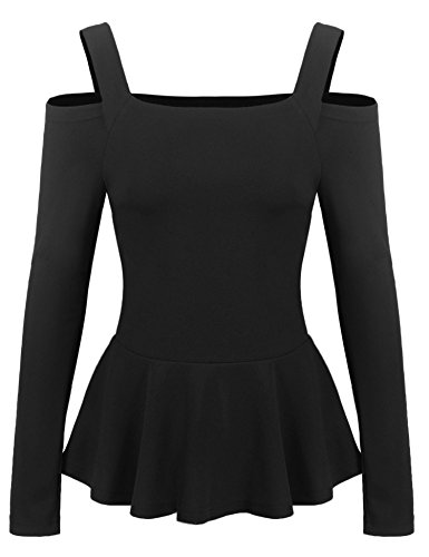 Zeagoo Women Ruffle Side Casual Peplum Top Sexy Blouse Black X-Large