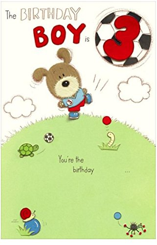 Embossed Woof Boy S 3rd Birthday Card Amazon Co Uk Kitchen Home