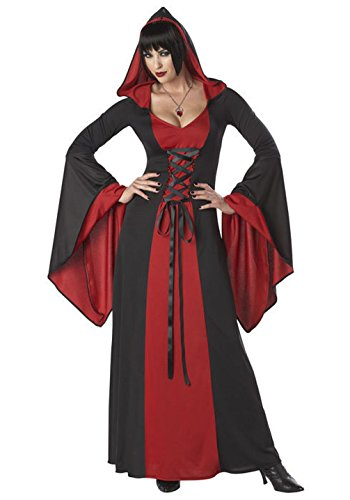[Mememall Fashion Red Gothic Deluxe Hooded Robe Adult Women Costume Vampire] (Army General Womens Costume)