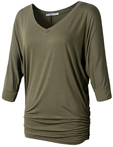 JollieLovin Womens V Neck 3/4 Dolman Sleeve Side Shirring Drape Top (2X, C Army Green)