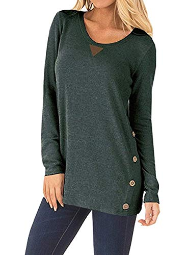 Yknktstc Womens Casual Long Sleeve Faux Suede Loose Tunic Button Blouses Shirt Tops Large Green ()